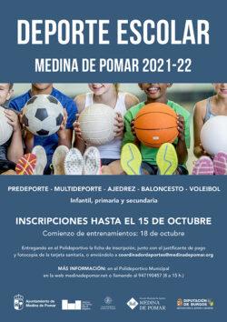DEPORTE ESCOLAR 2021-22  Infantil, primaria y secundaria en Medina de Pomar